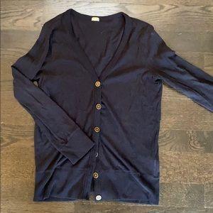 J Crew navy cardigan w brass buttons, worn twice